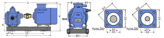 Габаритные и присоединительные размеры насоса Ш 40. Чертеж