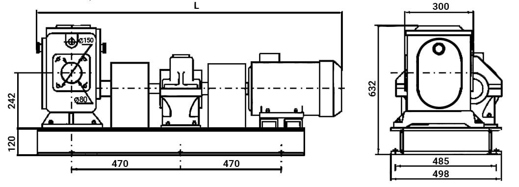 Чертеж ДС-134 на базе битумного насоса ДС-125