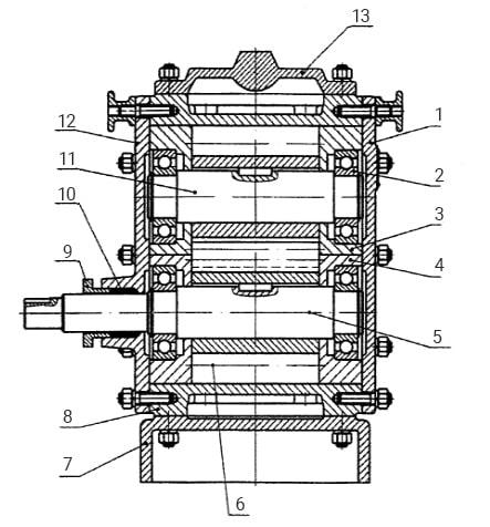 Устройство битумного насоса ДС-125: шестерня, крышка, вал, подшипник